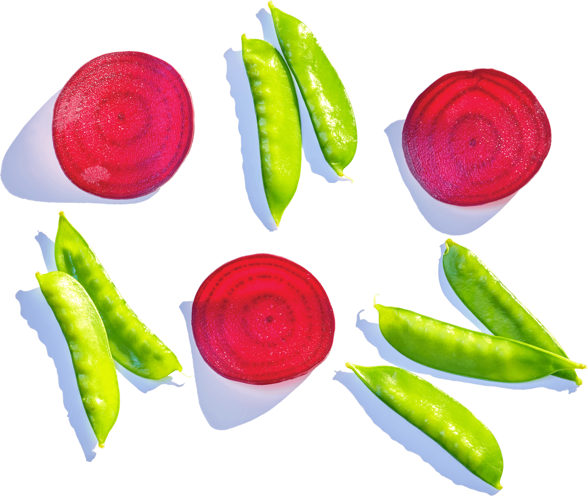 snap peas and beets