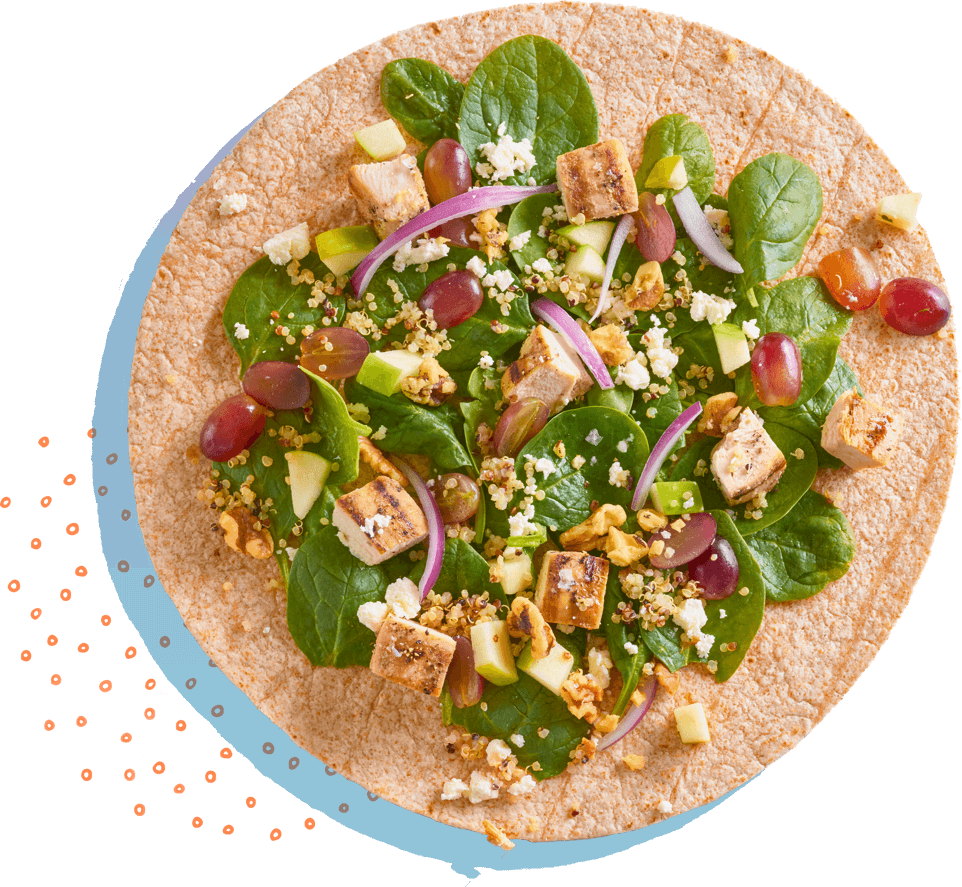 Spinach and chicken whole wheat wrap