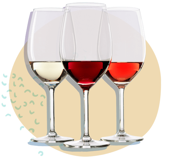 white, rose, and red wine