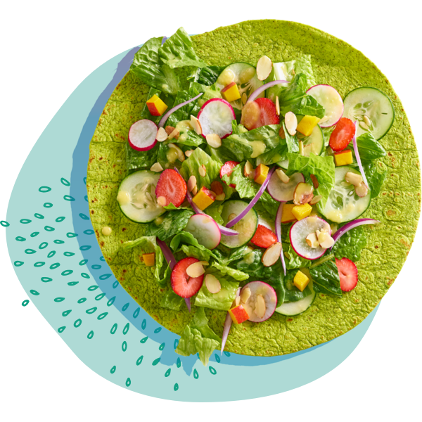 open-faced spinach wrap