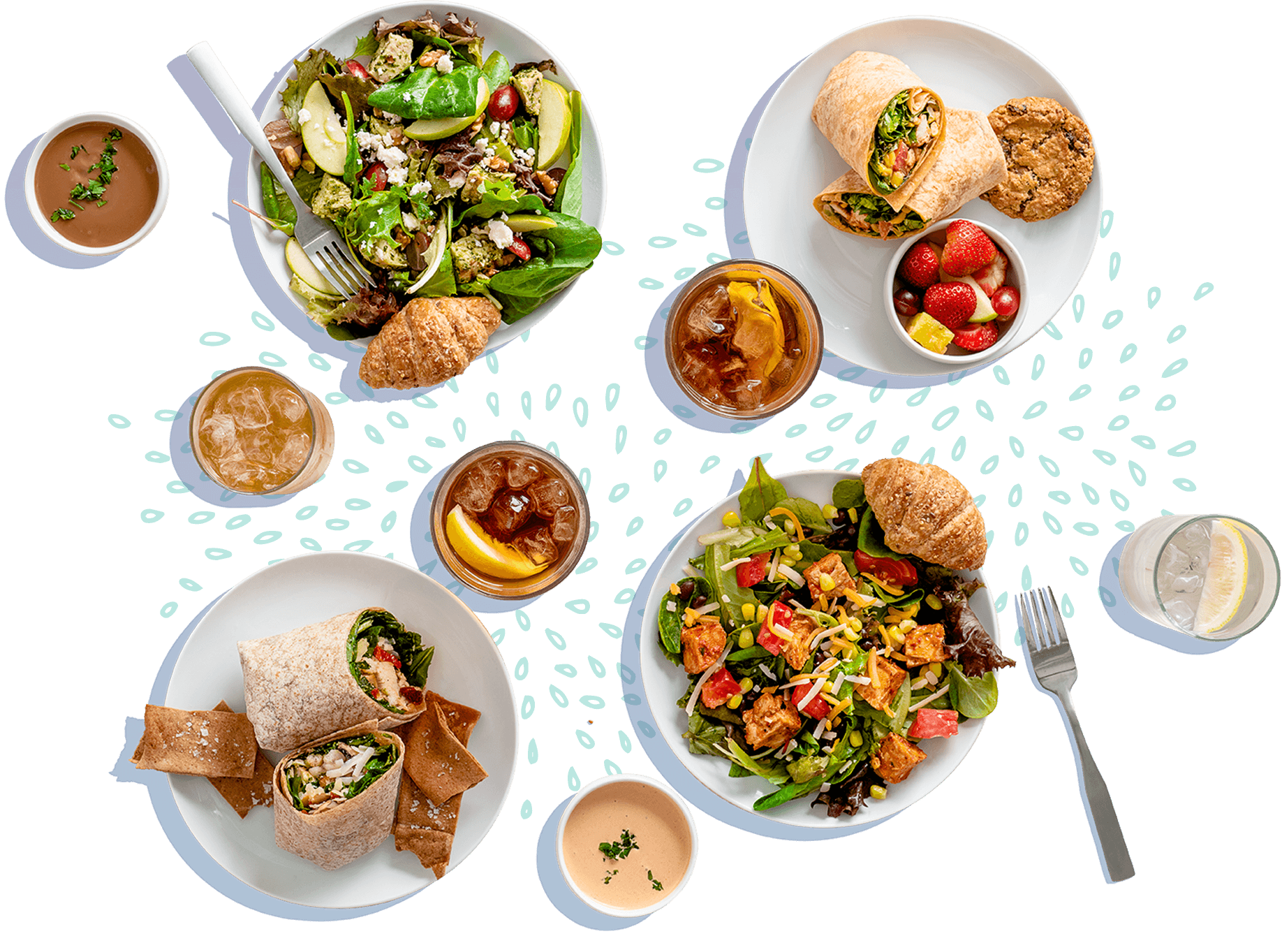 layout of salad dressings, salads in bowls, wraps on a plate, and drinks