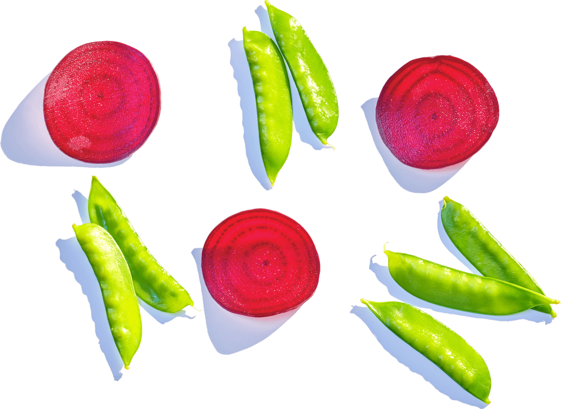 beet slices and edamame