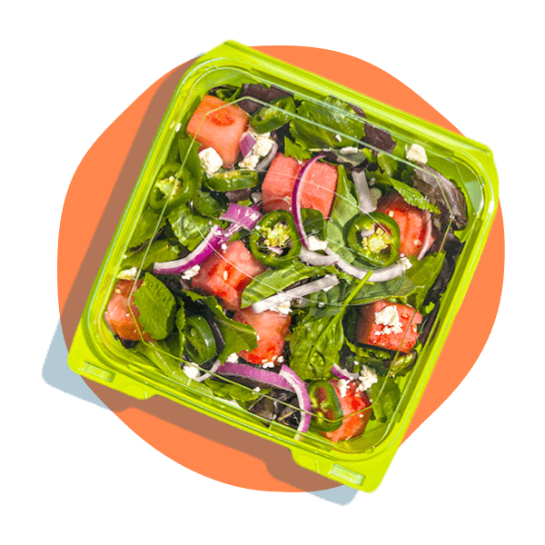 salad in a to-go box