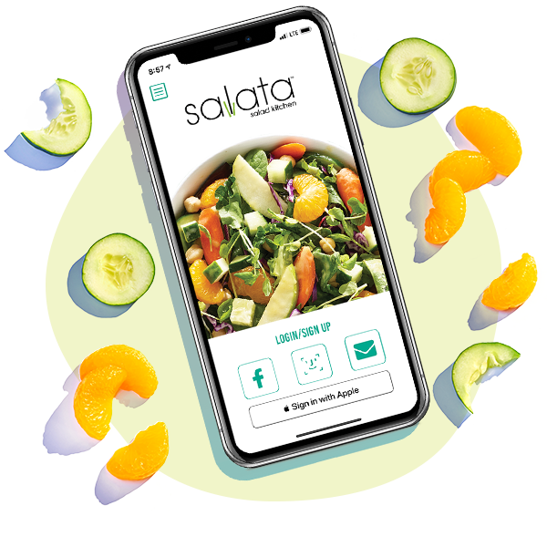 Phone with Salata app open